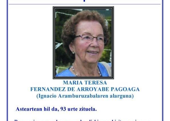 Maria Teresa Fernandez de Arroyabe Pagoaga